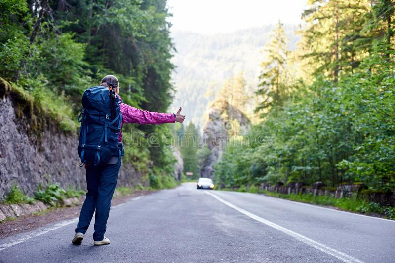 Girl with hitchhiking by the side of the road. royalty free stock images