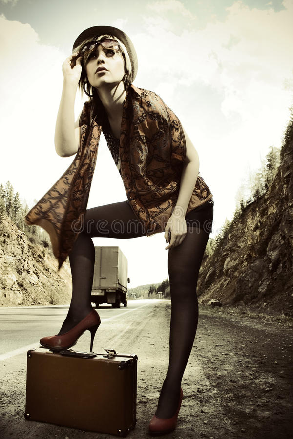 Download Girl Hitchhiking With Suitcase Stock Image - Image of hitchhiker, pantyhose: 15237111