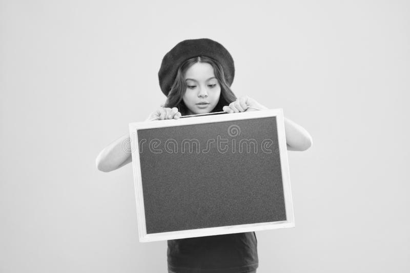 Girl hold blank blackboard chalkboard. Advertising copy space. Back to school concept. Happy hours. Good news. School. Information. Informing you. Child promo stock images