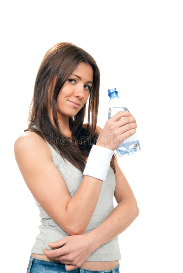 Girl hold bottle of pure drinking water stock photo