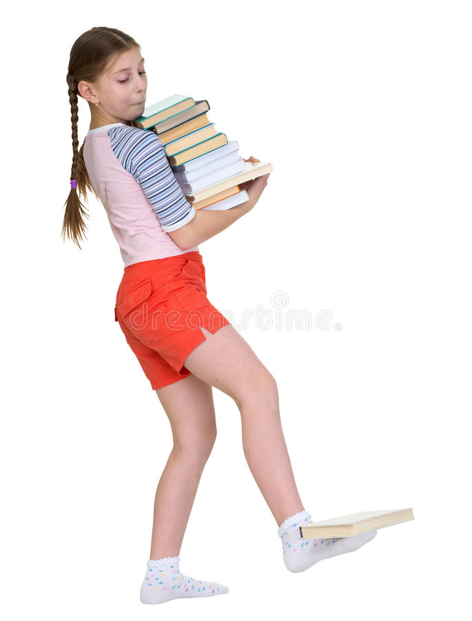 Girl hold heap of books royalty free stock image