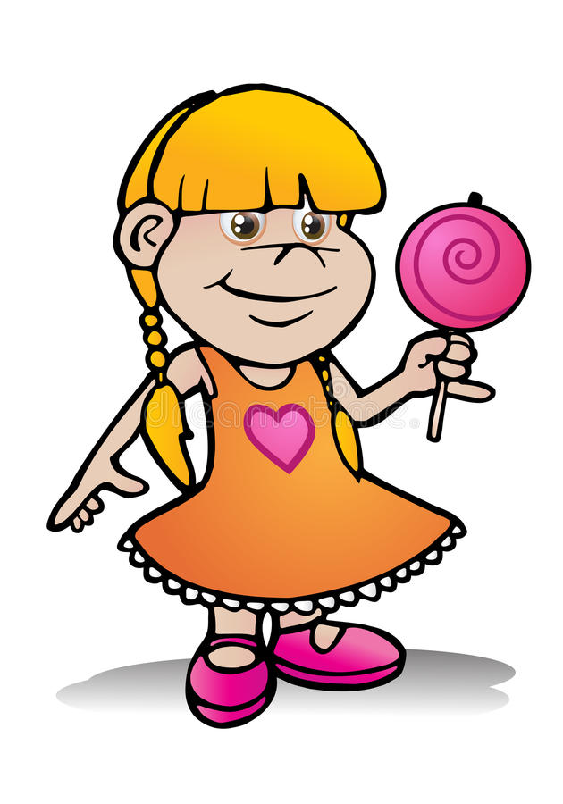 Girl hold lollipop candy