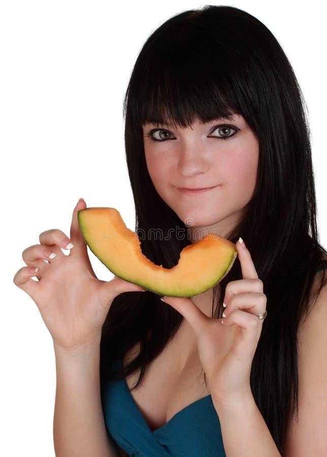 Free Girl Holdign Cantaloupe Slice Stock Images - 17398244