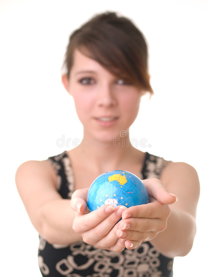 Free Girl Holding A Globe Stock Photography - 7155532