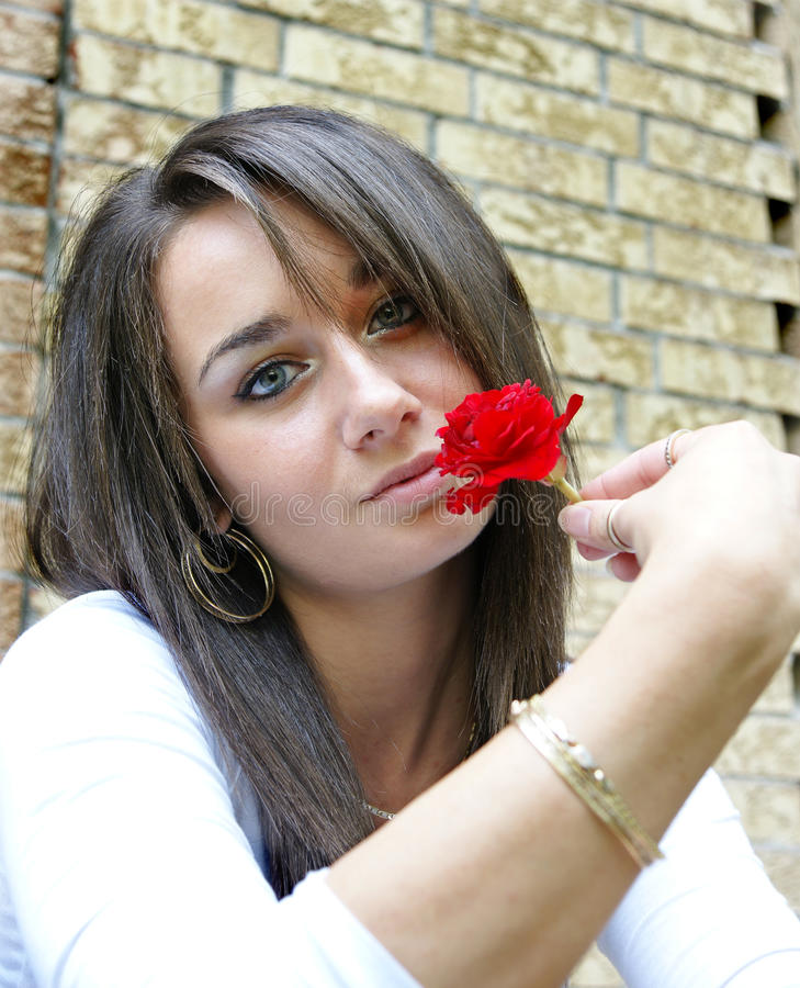 Free Girl Holding A Red Rose Royalty Free Stock Photos - 11417708