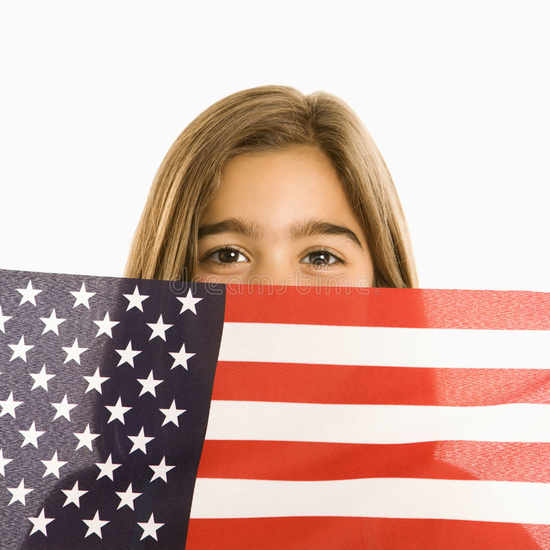 Download Girl Holding American Flag. Stock Photography - Image: 2771702
