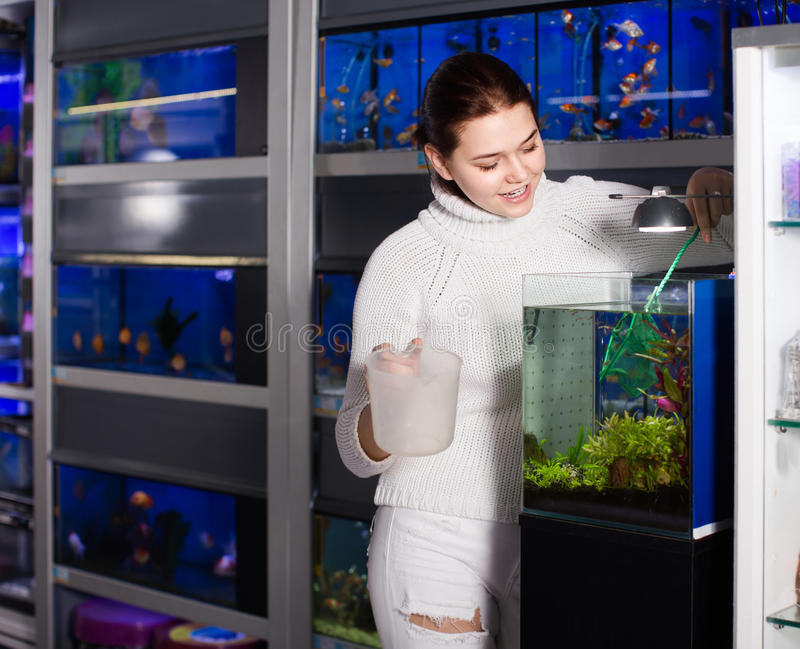 Girl holding aquarian net and water container next to aquarium w. Happy english girl holding aquarian net and water container next to aquarium with colorful fish stock image
