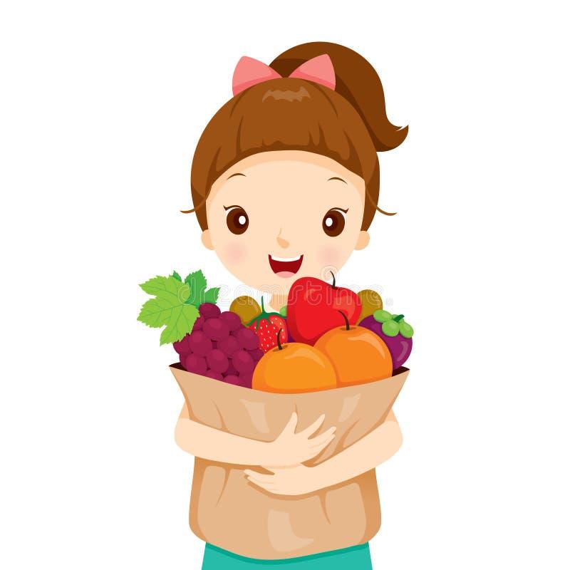 Girl Holding Bag Full Of Fruits stock photography