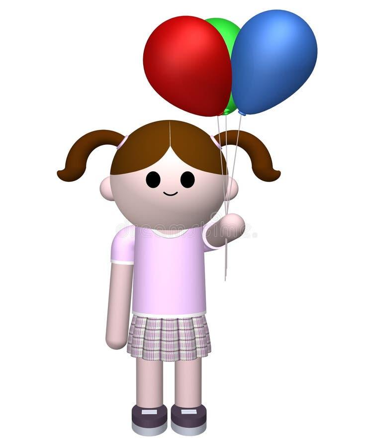 Girl holding balloons stock illustration