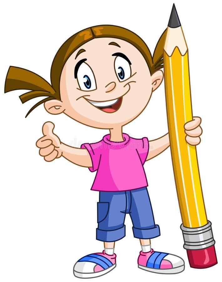 Girl holding big pencil stock illustration