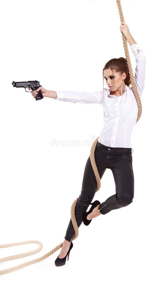 Download Girl holding a black gun stock image. Image of criminal - 28104123