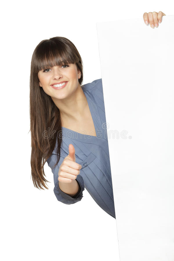 Girl holding blank banner, showing thumb up stock photo