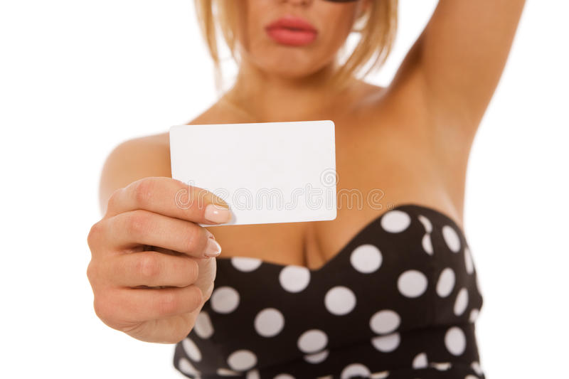 Girl Holding Blank Business Card Royalty Free Stock Photography