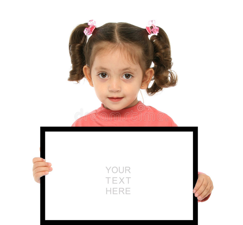 Girl holding a blank sign stock photos