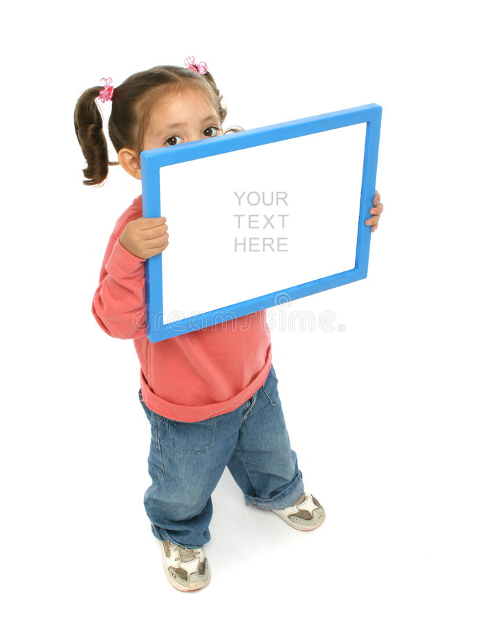 Girl holding a blank sign. Toddler holding an empty sign over a white background stock photos