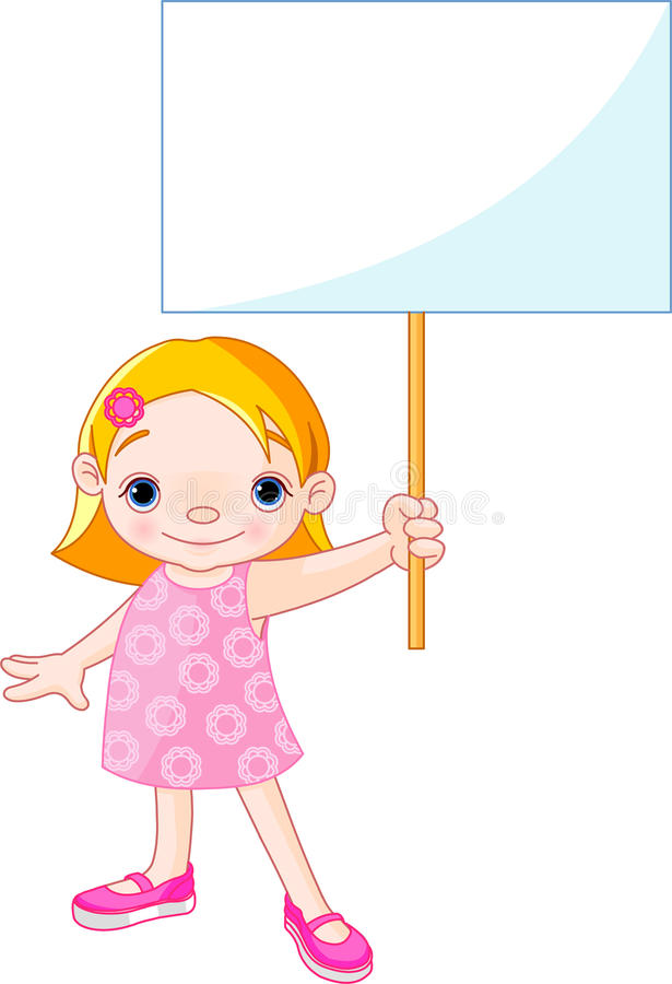 Girl holding a blank sign for your message stock illustration