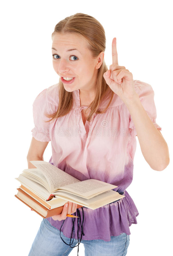 Girl holding a book stock photography