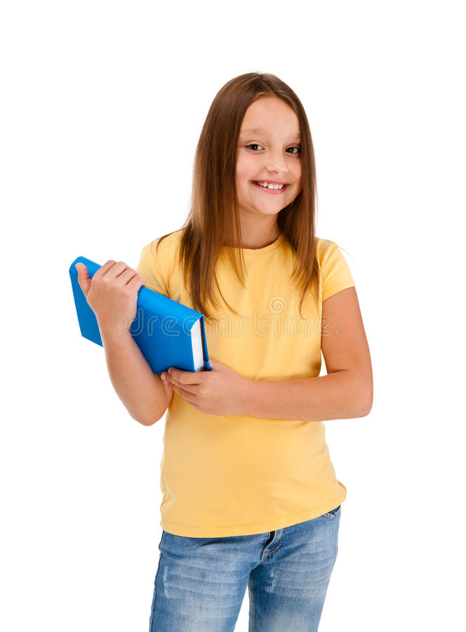 Girl holding books isolated on white background stock images