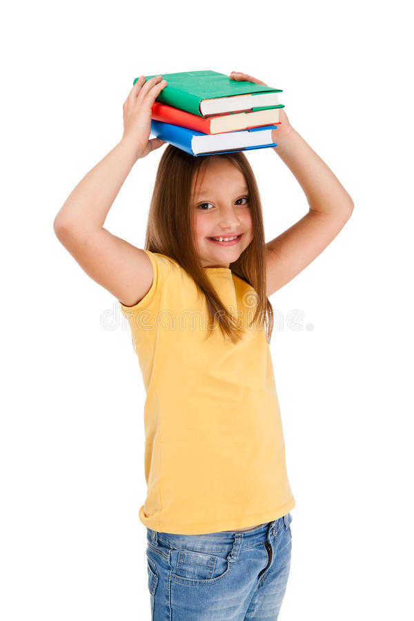 Download Girl Holding Books Isolated On White Background Stock Image - Image: 23673313