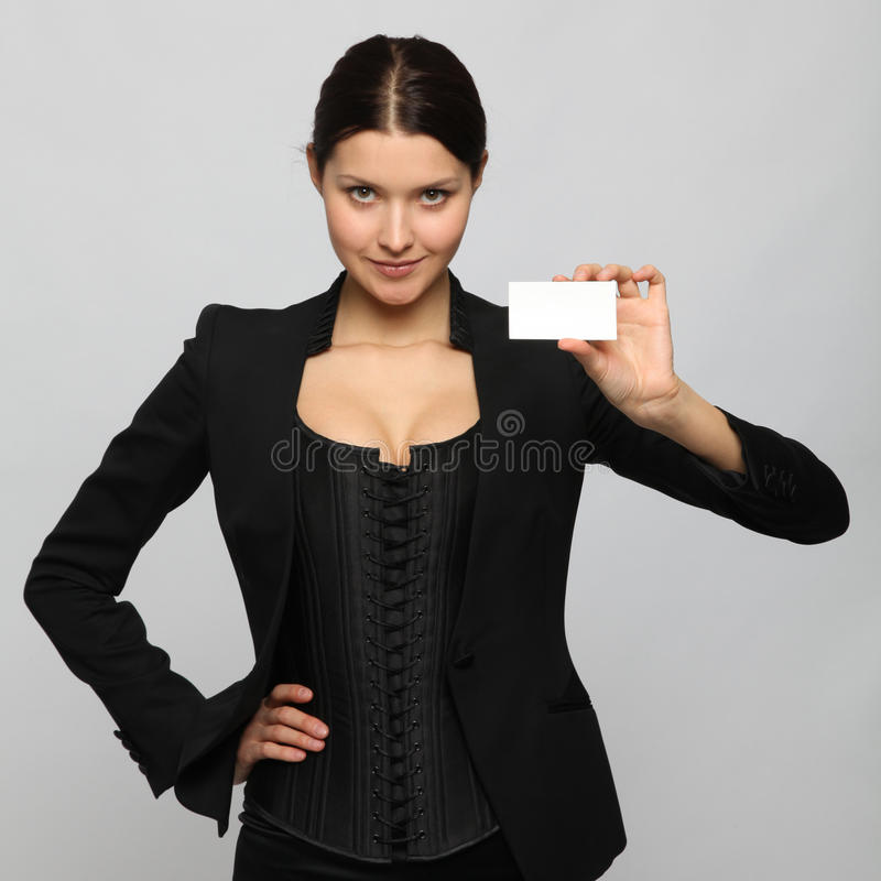 Girl holding a business card stock photography