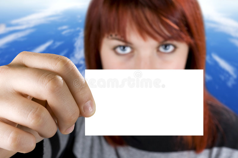 Download Girl Holding A Business Card Royalty Free Stock Photos - Image: 3764318