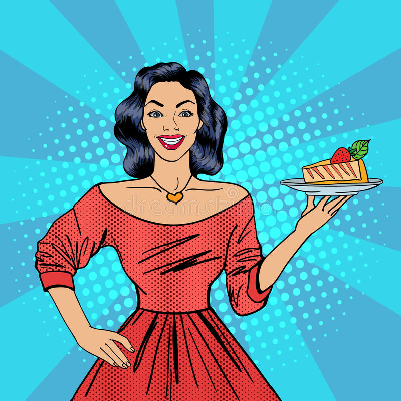 Girl Holding a Cake. Housewife with Cheesecake. Pop Art. Happy Woman. Vector illustration royalty free illustration