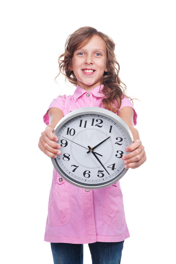 Download Girl holding the clock stock photo. Image of casual, alarm - 27341660