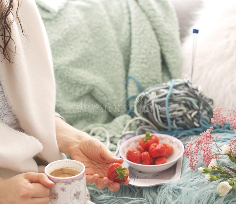 The girl is holding coffee. Fresh strawberries in a plate. On the sofa in the cozy living room. Accessories for hobby knitting. stock photo