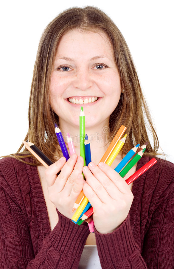 Download Girl Holding Colour Pencils Stock Photo - Image: 3395806