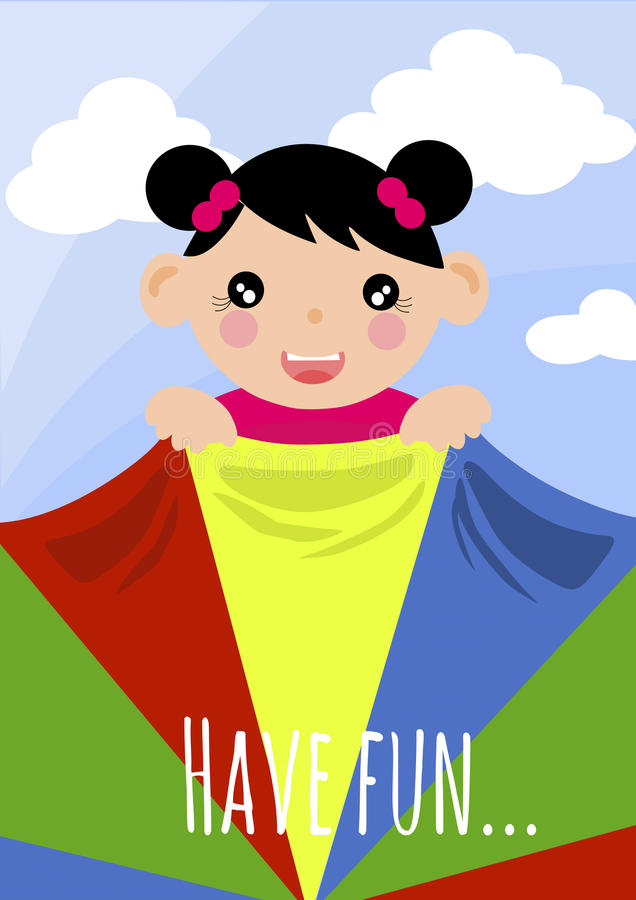 Girl holding colourful scarf royalty free illustration