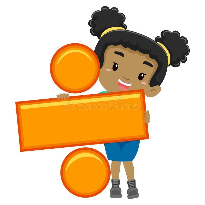 Girl holding Division Symbol. Vector Illustration of a Girl holding Division Symbol royalty free illustration