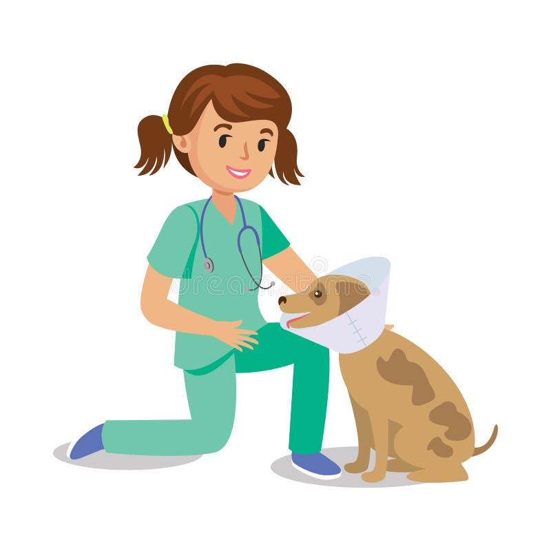 Girl Holding Dog. Vet Girl, Pet Doctor. Cute Cartoon Girl ...