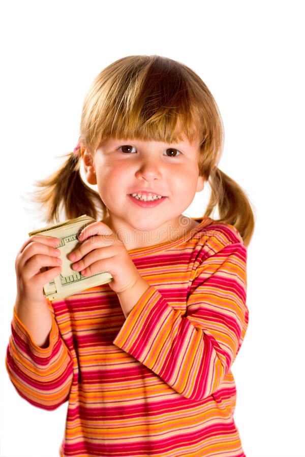 Download Girl holding dollars stock photo. Image of deposit, bunch - 7310558