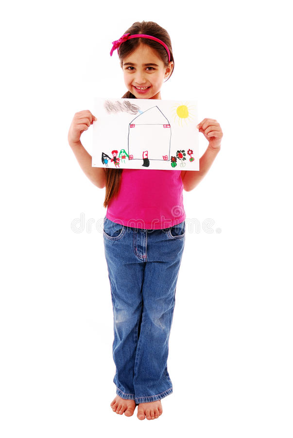 Girl holding drawing stock photos