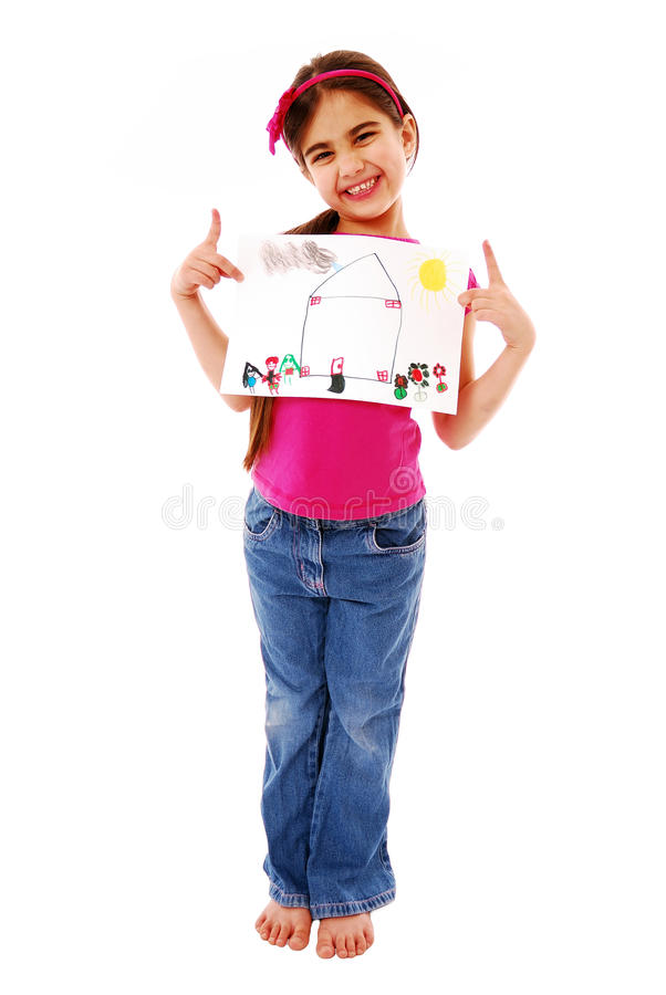 Girl holding drawing royalty free stock photo