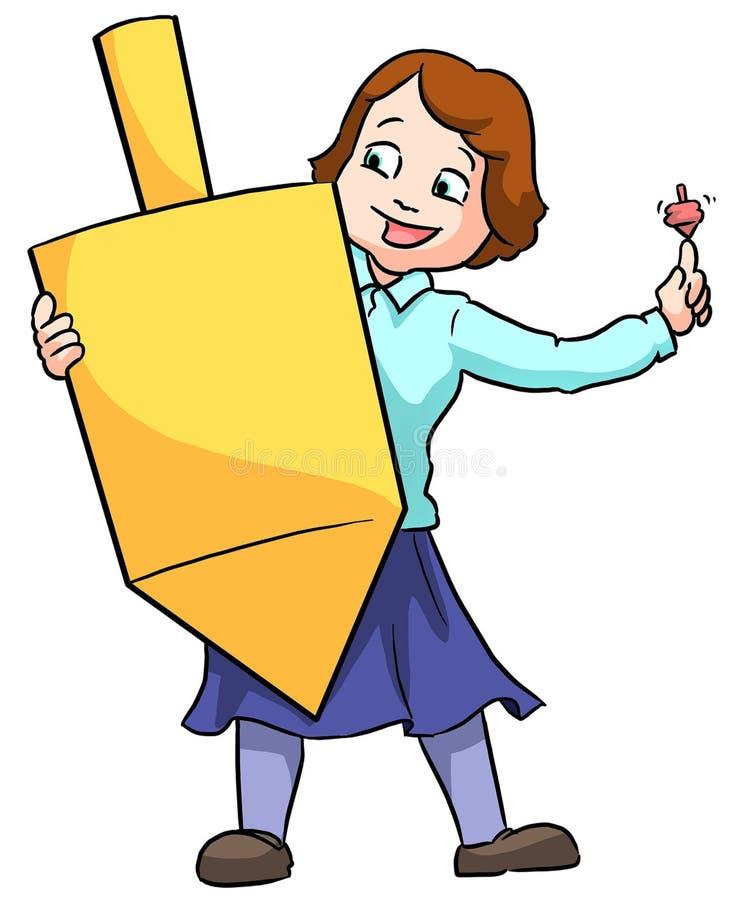 Girl holding dreidel. Little girl holding a large Chanuka dreidel spinning top stock illustration