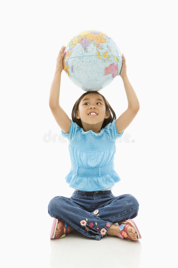 Girl holding Earth. royalty free stock images