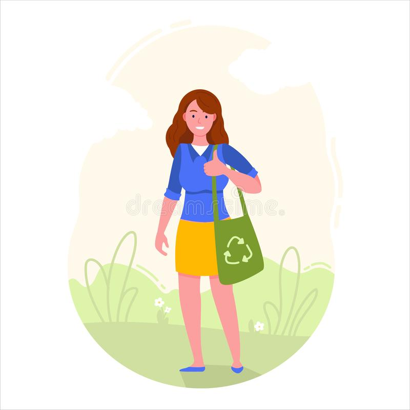 Girl is holding eco bag with recycling symbol. stock illustration