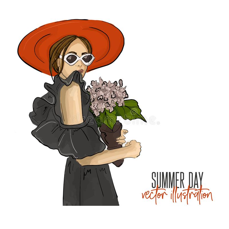 Girl holding flower vector illustration. Romantic mood fashion glamour drawing. Young woman in sunglasses, off shoulder stock illustration