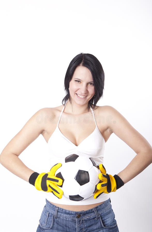 Download Girl holding a football. stock photo. Image of background - 24841534