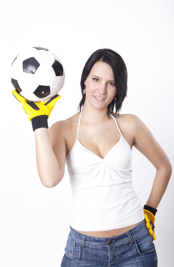 Download Girl Holding A Football. Royalty Free Stock Photo - Image: 24841545