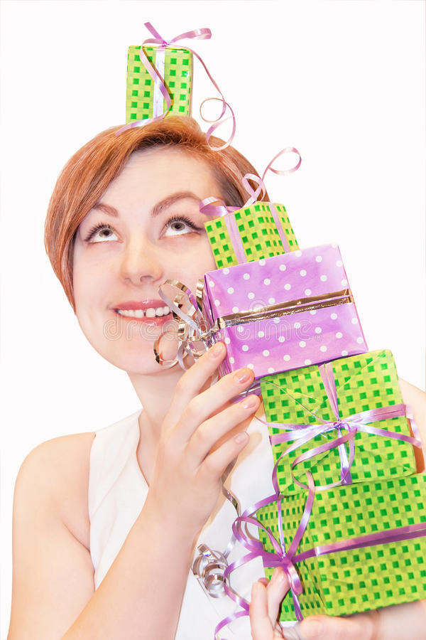 Download Girl holding gift boxes. stock image. Image of adorable - 39502425