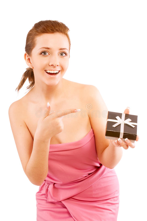 Download Girl Holding A Gift And Smiling Stock Photo - Image: 13112266