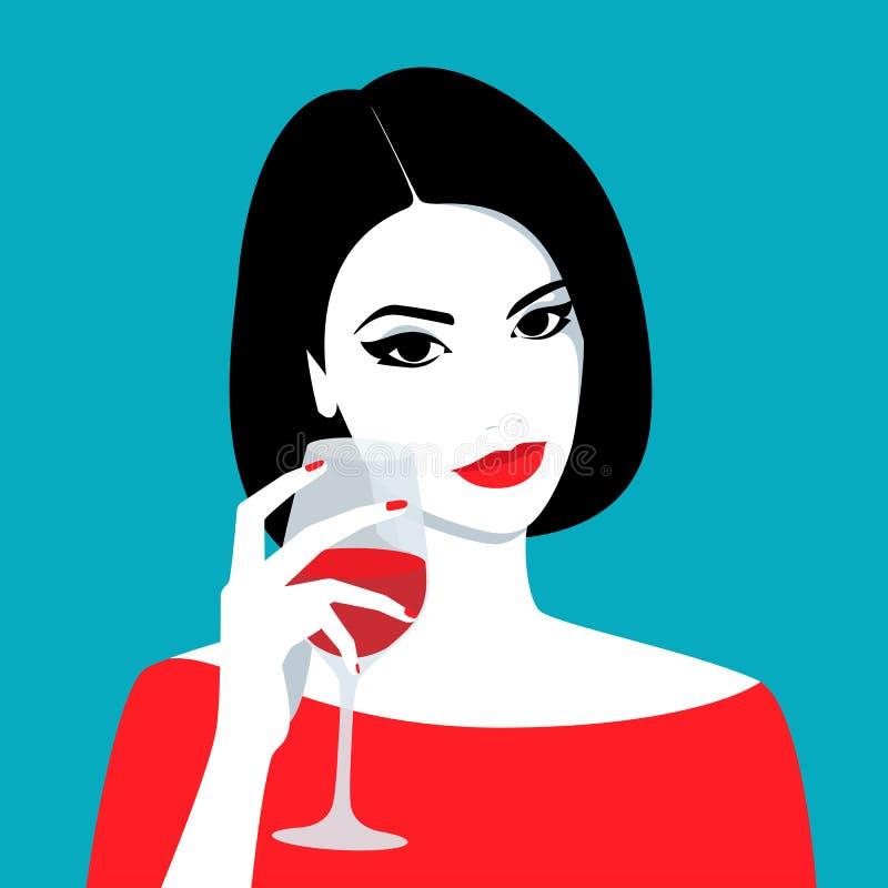 Girl holding glass of wine vector illustration
