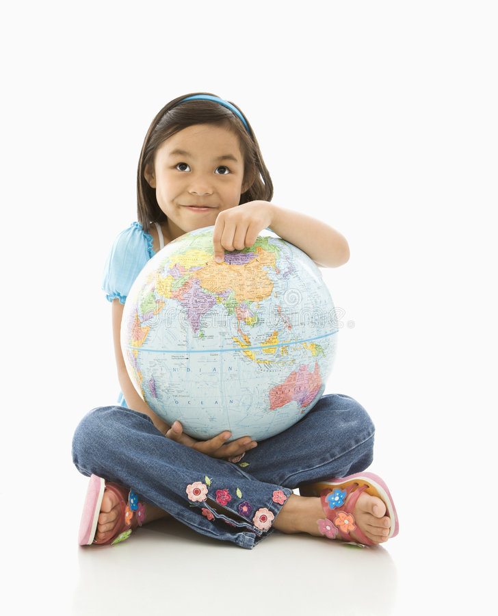 Girl holding globe. royalty free stock image