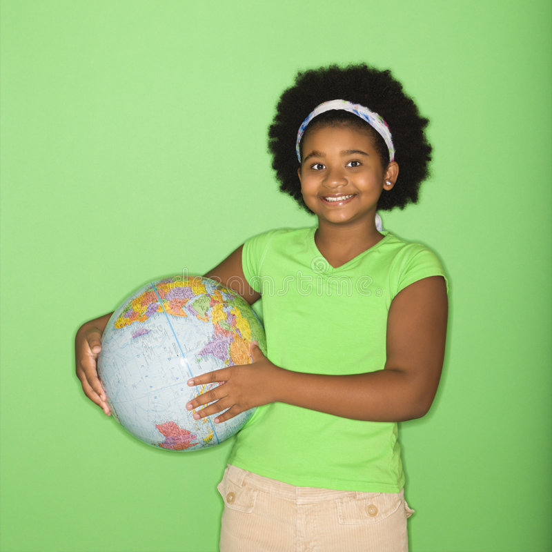 Download Girl holding globe. stock image. Image of person, geography - 3423275