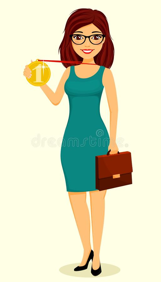Girl holding a gold medal in her hand. Success in business. Business and Finance. Character. royalty free stock images