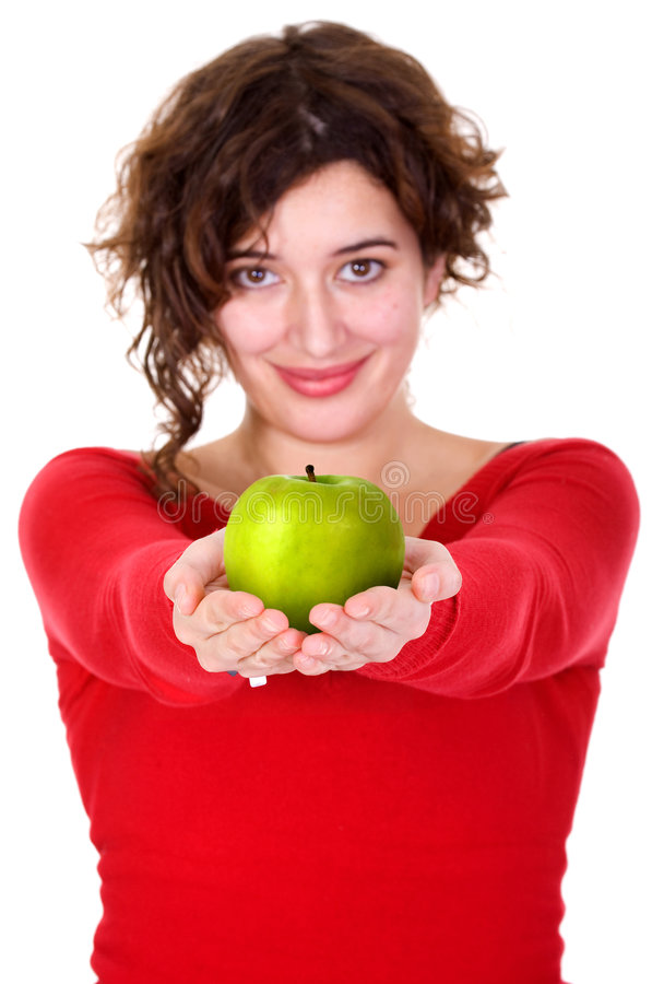 Girl holding a green apple - diet series