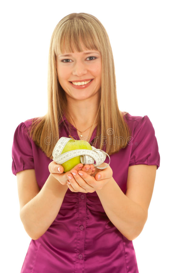 Download Girl Holding A Green Apple (focus On Apple) Stock Image - Image: 16958941
