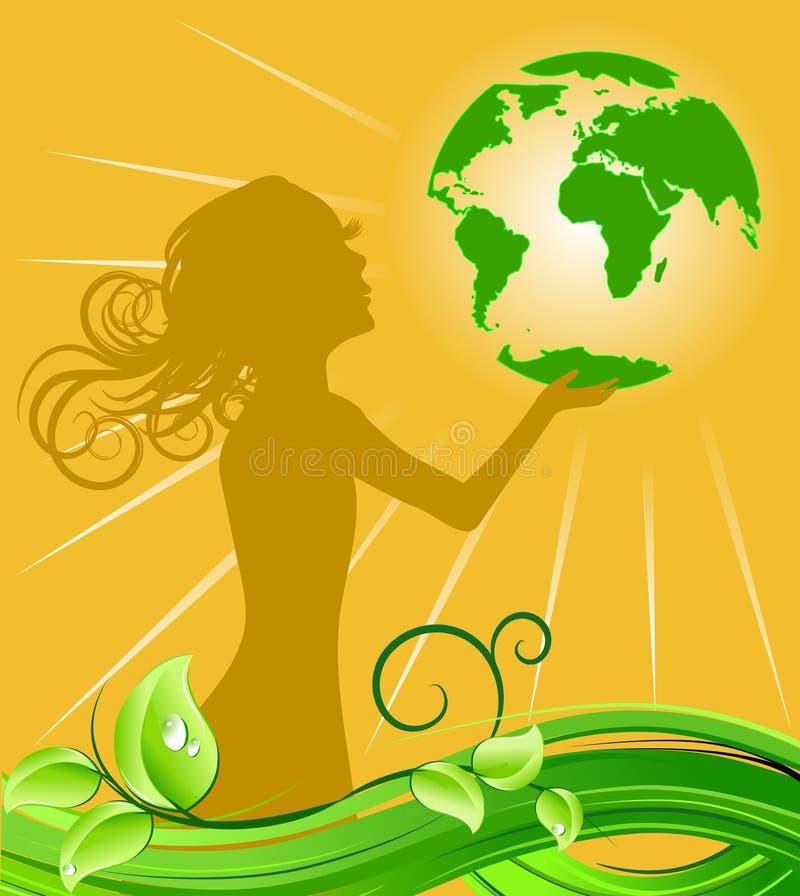 Girl holding green earth royalty free illustration
